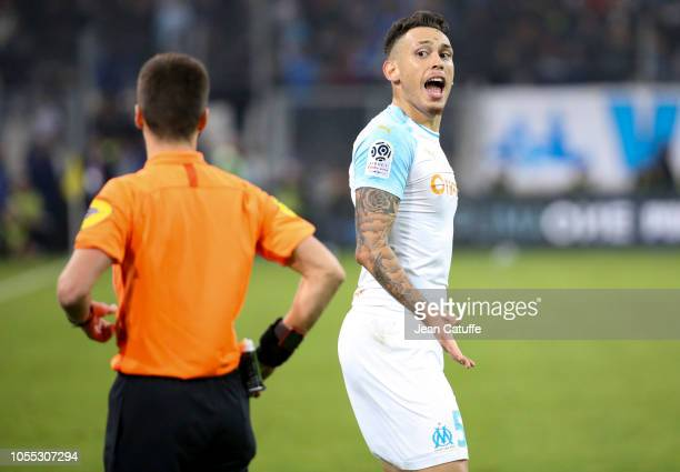 Lucas Ocampos of Marseille argues with referee Benoit Bastien during the french Ligue 1 match between Olympique de Marseille and Paris SaintGermain...