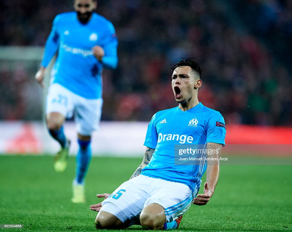 Lucas Ocampos of Marseille celebrates after scoring his team's second goal during UEFA Europa League Round of 16 match between Athletic Club Bilbao and Olympique Marseille at the San Mames Stadium on March 15, 2018 in Bilbao, Spain.