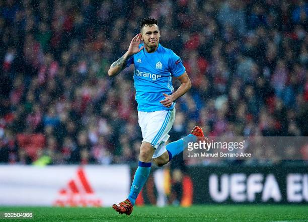 Lucas Ocampos of Marseille celebrates after scoring his team's second goal during UEFA Europa League Round of 16 match between Athletic Club Bilbao...