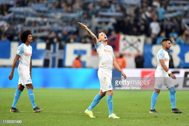 Lucas Ocampos of Marseille celebrates the victory during the Ligue 1 match between Marseille and Amiens at Stade Velodrome on February 16 2019 in...