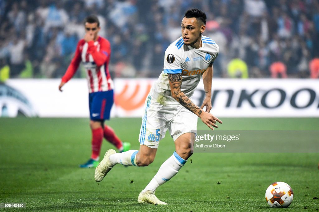 Lucas Ocampos of Marseille during the Europa League Final match between Marseille and Atletico Madrid at Groupama Stadium on May 16, 2018 in Lyon, France.