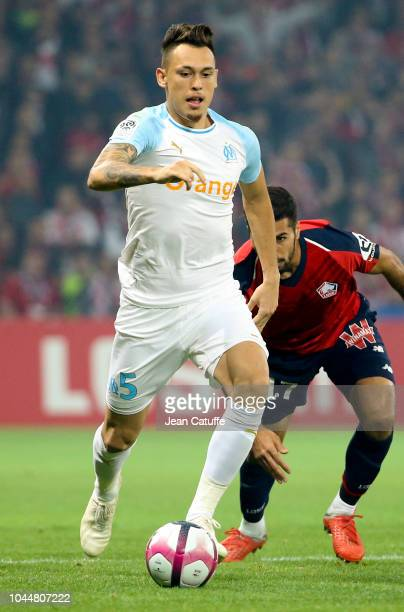 Lucas Ocampos of Marseille during the french Ligue 1 match between Lille OSC and Olympique de Marseille at Stade Pierre Mauroy on September 30 2018...