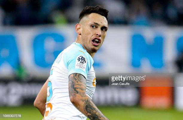 Lucas Ocampos of Marseille during the french Ligue 1 match between Olympique de Marseille and Paris SaintGermain at Stade Velodrome on October 28...