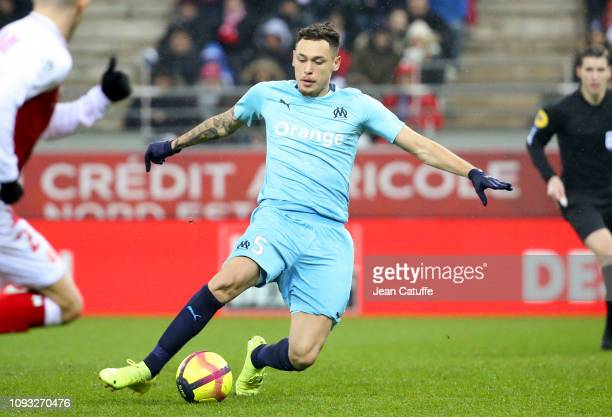 Lucas Ocampos of Marseille during the french Ligue 1 match between Stade de Reims and Olympique de Marseille at Stade Auguste Delaune on February 2...