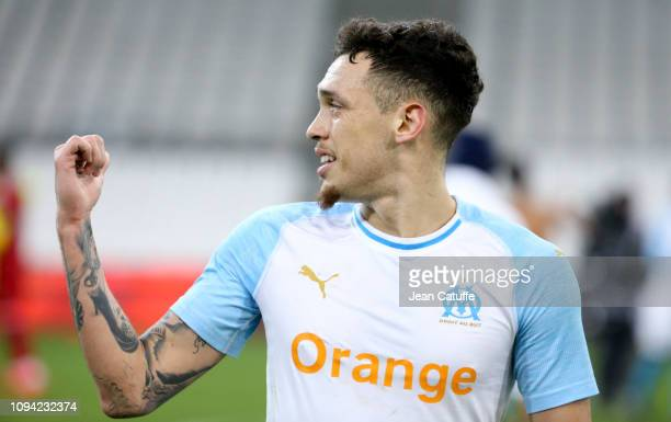 Lucas Ocampos of Marseille during the French Ligue 1 match between Olympique de Marseille and Girondins de Bordeaux at Stade Velodrome on February 5...