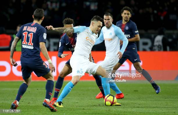 Lucas Ocampos of Marseille during the French Ligue 1 match between Paris SaintGermain and Olympique de Marseille at Parc des Princes stadium on March...