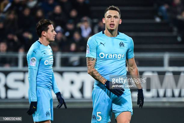 Lucas Ocampos of Marseille during the Ligue 1 match between Amiens and Marseille at Stade de la Licorne on November 25 2018 in Amiens France