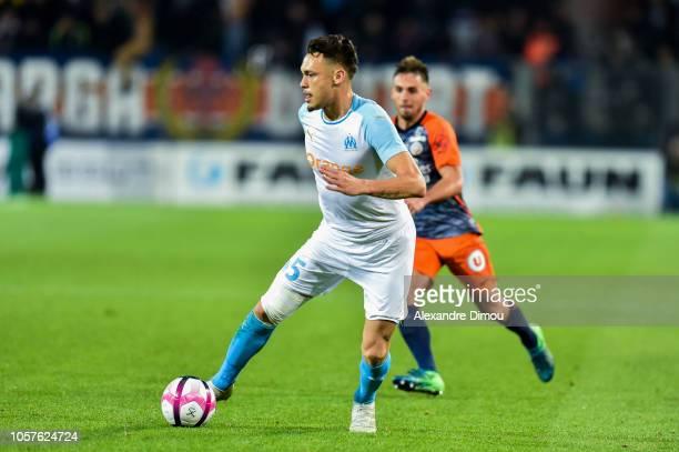 Lucas Ocampos of Marseille during the Ligue 1 match between Montpellier and Marseille at Stade de la Mosson on November 4 2018 in Montpellier France