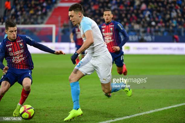 Lucas Ocampos of Marseille during the Ligue 1 match between Caen and Marseille at Stade Michel D'Ornano on January 20 2019 in Caen France