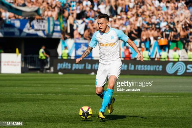 Lucas Ocampos of Marseille during the Ligue 1 match between EA Guingamp and Olympique de Marseille at Stade du Roudourou on April 20 2019 in Guingamp...