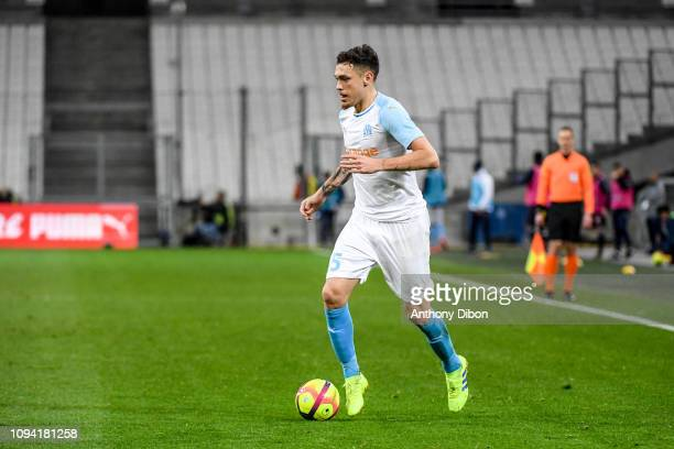 Lucas Ocampos of Marseille during the Ligue 1 match between Marseille and Bordeaux at Stade Velodrome on February 5 2019 in Marseille France
