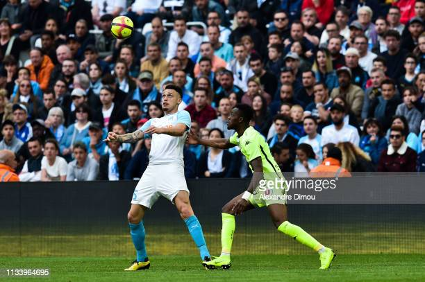 Lucas Ocampos of Marseille during the Ligue 1 match between Marseille and Angers at Stade Velodrome on March 30 2019 in Marseille France