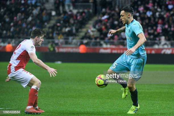 Lucas Ocampos of Marseille during the Ligue 1 match between Reims and Marseille at Stade Auguste Delaune on February 2 2019 in Reims France