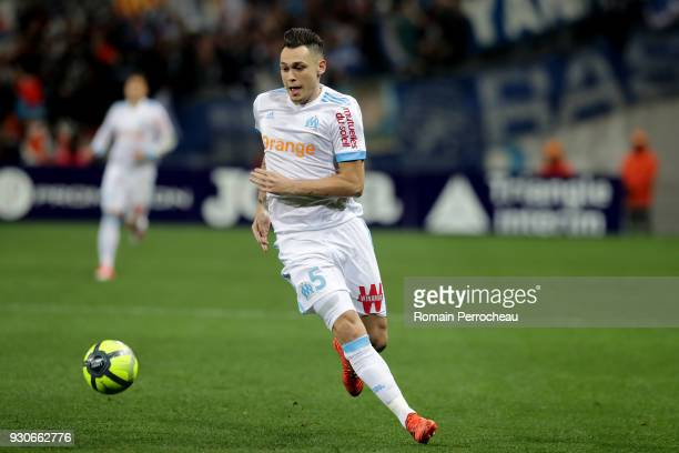 Lucas Ocampos of Marseille in action during the Ligue 1 match between Toulouse and Olympique Marseille at Stadium Municipal on March 11 2018 in...