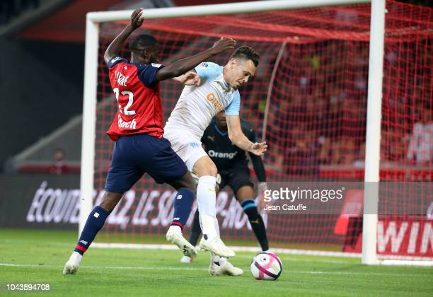 Lucas Ocampos of Marseille Jonathan Ikone of Lille during the french Ligue 1 match between Lille OSC and Olympique de Marseille at Stade Pierre...