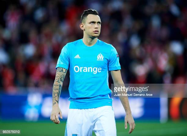 Lucas Ocampos of Marseille reacts during UEFA Europa League Round of 16 match between Athletic Club Bilbao and Olympique Marseille at the San Mames...