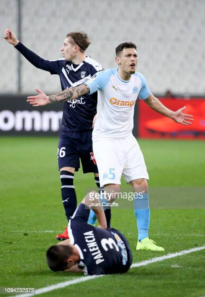 Lucas Ocampos of Marseille Sergi Palencia of Bordeaux during the French Ligue 1 match between Olympique de Marseille and Girondins de Bordeaux at...