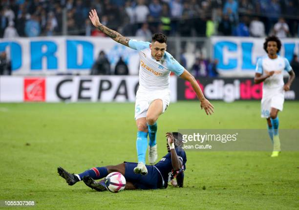 Lucas Ocampos of Marseille Stanley Nsoki of PSG during the french Ligue 1 match between Olympique de Marseille and Paris SaintGermain at Stade...