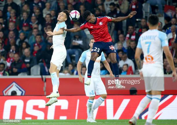 Lucas Ocampos of Marseille Thiago Mendes of Lille during the french Ligue 1 match between Lille OSC and Olympique de Marseille at Stade Pierre Mauroy...