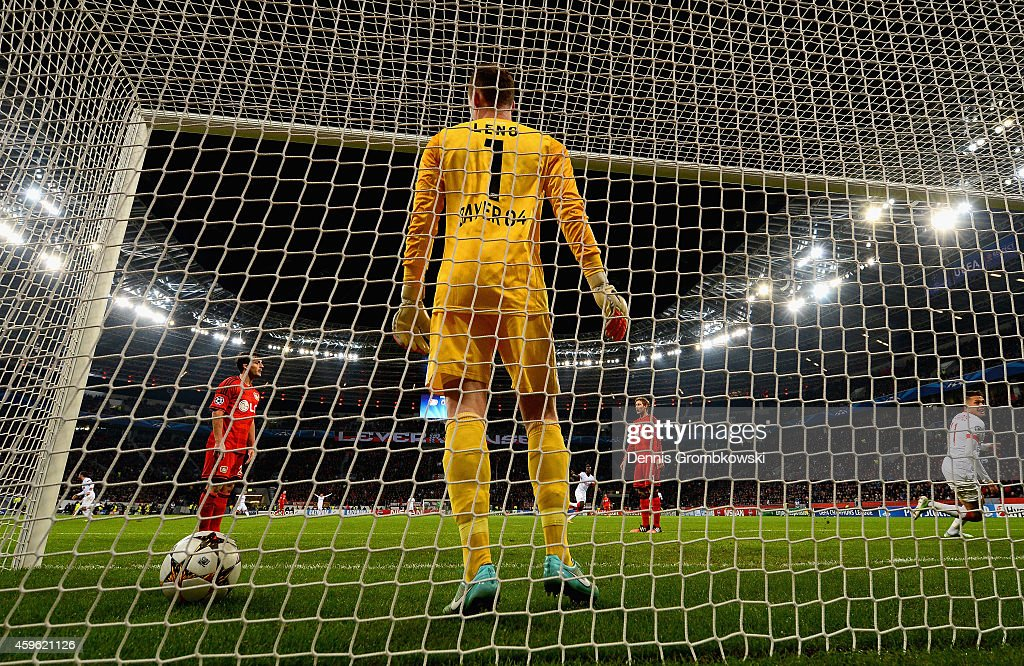 Lucas Ocampos of Monaco turns to celebrate after scoring the opening goal past Bernd Leno of Bayer Leverkusen during the UEFA Champions League group C match between Bayer 04 Leverkusen and AS Monaco FC at BayArena on November 26, 2014 in Leverkusen, Germany.