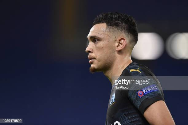 Lucas Ocampos of Olimpique de Marseille during the UEFA Europa League Group Stage match between Lazio and Olympique de Marseille at Stadio Olimpico...