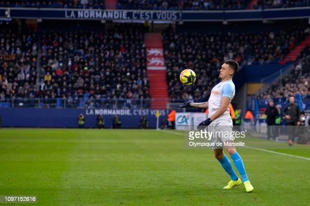 Lucas Ocampos of Olympique de Marseille controls the ball during the Ligue 1 match between SM Caen and Olympique de Marseille at Stade Michel...
