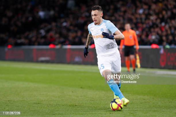 Lucas Ocampos of Olympique de Marseille controls the ball during the Ligue 1 match between Paris SaintGermain and Olympique de Marseille at Parc des...