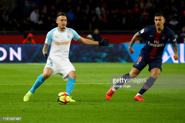 Lucas Ocampos of Olympique de Marseille during the Ligue 1 match between Paris Saint Germain and Marseille at Parc des Princes on March 17 2019 in...