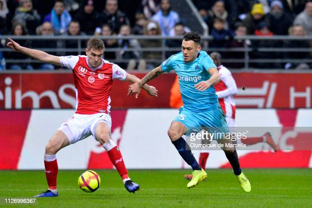 Lucas Ocampos of Olympique de Marseille fights for the ball during the Ligue 1 match between Olympique de Marseille and Stade de Reims at Stade...