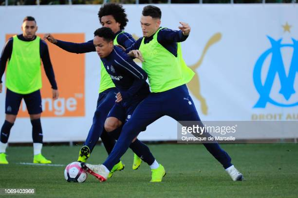 Lucas Ocampos of Olympique de Marseille in action during a training session at Centre RobertLouis Dreyfus on December 7 2018 in Marseille France