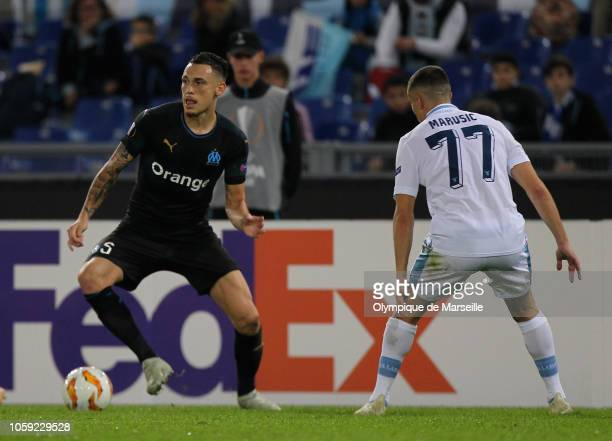 Lucas Ocampos of Olympique de Marseille in action during the UEFA Europa League Group H match between SS Lazio and Olympique de Marseille at Stadio...