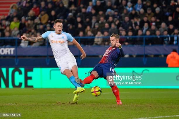 Lucas Ocampos of Olympique de Marseille kicks the ball during the Ligue 1 match between SM Caen and Olympique de Marseille at Stade Michel D'Ornano...