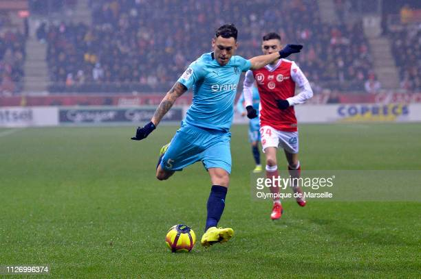 Lucas Ocampos of Olympique de Marseille kicks the ball during the Ligue 1 match between Olympique de Marseille and Stade de Reims at Stade Auguste...