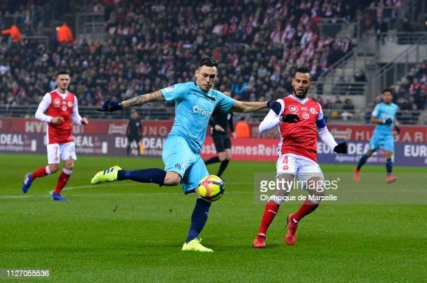 Lucas Ocampos of Olympique de Marseille kicks the ball during the Ligue 1 match between Olympique de Marseille and Stade de Reims at Stade Auguste...