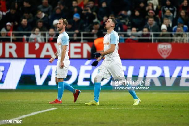 Lucas Ocampos of Olympique de Marseille reacts after scoring during the Ligue 1 match between Olympique de Marseille and Dijon FCO at Stade Gaston...