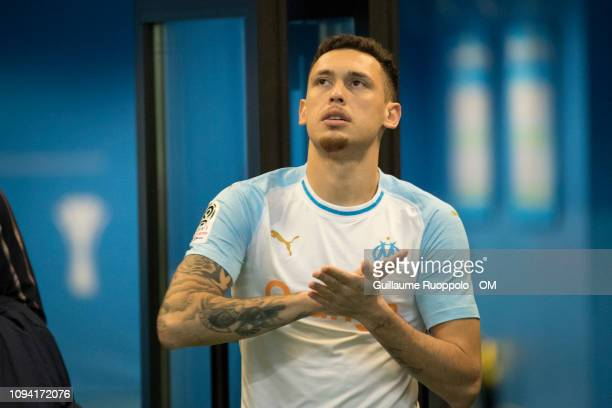 Lucas Ocampos of Olympique de Marseille reacts during the Ligue 1 match between Olympique de Marseille and Bordeaux at Stade Velodrome on February 5...