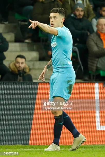 Lucas Ocampos of Olympique de Marseille reacts during the Ligue 1 match between SaintEtienne and Olympique de Marseille at Stade GeoffroyGuichard on...