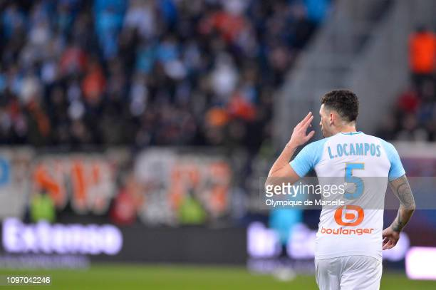 Lucas Ocampos of Olympique de Marseille reacts during the Ligue 1 match between SM Caen and Olympique de Marseille at Stade Michel D'Ornano on...