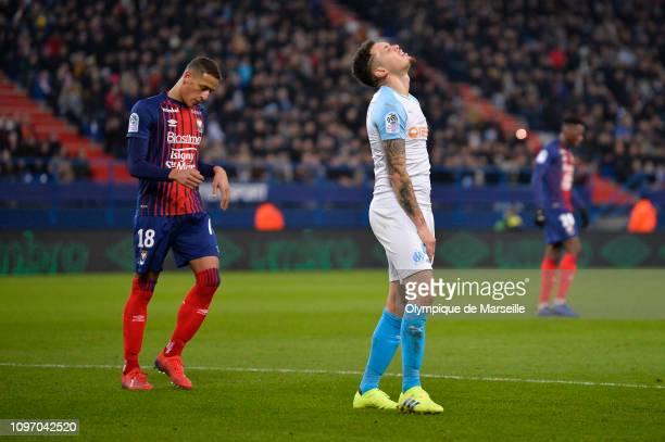 Lucas Ocampos of Olympique de Marseille reacts during the Ligue 1 match between SM Caen and Olympique de Marseille at Stade Michel D'Ornano on...