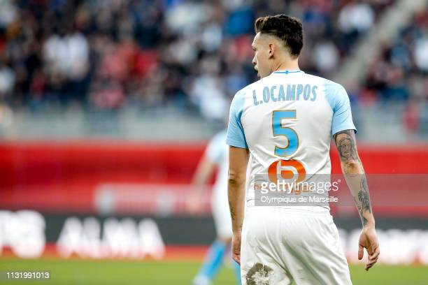 Lucas Ocampos of Olympique de Marseille reacts during the Ligue 1 match between Stade Rennes and Olympique de Marseille at Roazhon Park on February...