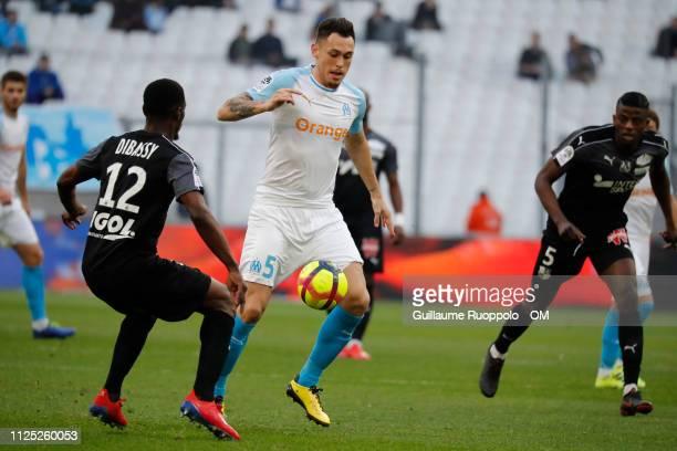 Lucas Ocampos of Olympique de Marseille runs with the ball during Olympique de Marseille v Amiens SC Ligue 1 at Stade Velodrome on February 16 2019...
