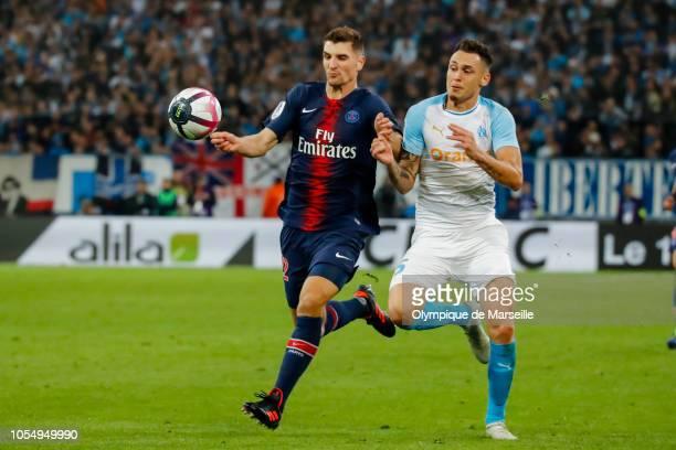 Lucas Ocampos of Olympique de Marseille runs with the ball during the ligue 1 match between Olympique de Marseille and Paris Saint Germain at Stade...