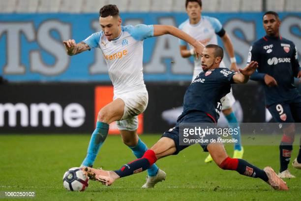 Lucas Ocampos of Olympique de Marseille runs with the ball during the ligue 1 match between Olympique de Marseille > at Stade Velodrome on November...