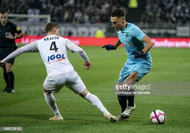 Lucas Ocampos of Olympique de Marseille runs with the ball during the Ligue 1 match between Amiens SC and Olympique de Marseille at Stade de la...
