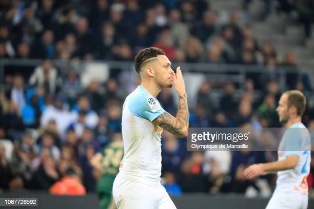 Lucas Ocampos of Olympique de Marseille runs with the ball during the Ligue 1 match between Olympique de Marseille and Reims at Stade Velodrome on...
