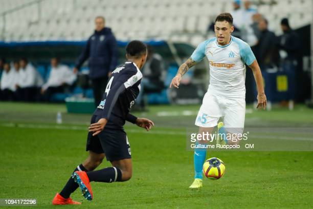 Lucas Ocampos of Olympique de Marseille runs with the ball during the Ligue 1 match between Olympique de Marseille and Bordeaux at Stade Velodrome on...