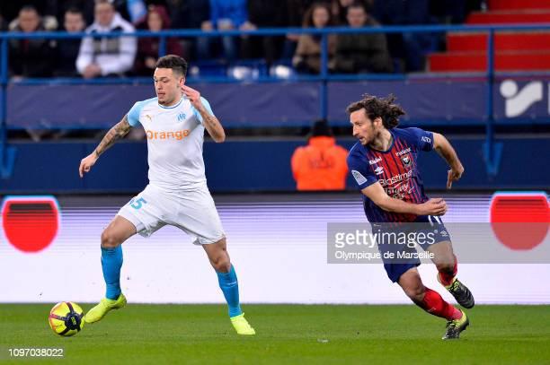 Lucas Ocampos of Olympique de Marseille runs with the ball during the Ligue 1 match between SM Caen and Olympique de Marseille at Stade Michel...