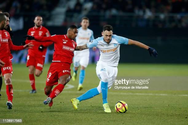 Lucas Ocampos of Olympique de Marseille runs with the ball during the Ligue 1 match between Olympique de Marseille and Dijon FCO at Stade Gaston...