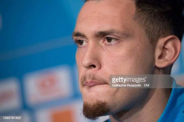 Lucas Ocampos of Olympique de Marseille speaks to the media during a press conference at Centre Robert LouisDreyfus on February 4 2019 in Marseille...