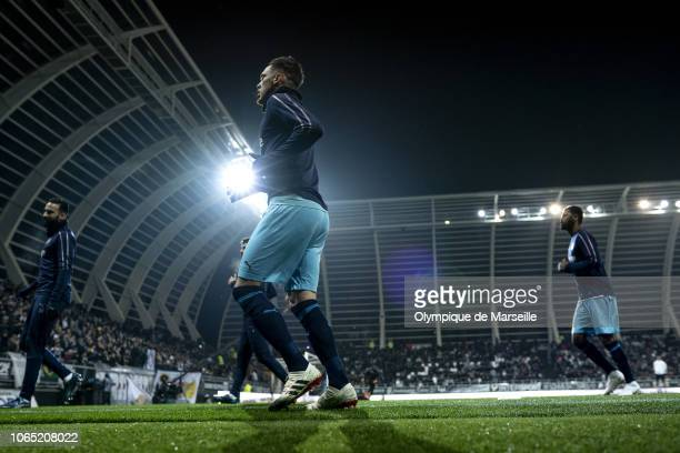 Lucas Ocampos of Olympique de Marseille warms up before the Ligue 1 match between Amiens SC and Olympique de Marseille at Stade de la Licorne on...